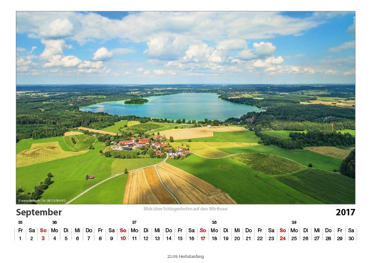 Wörthsee-Kalender 2017 September